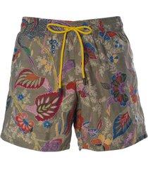 etro drawstring waist leaf printed shorts
