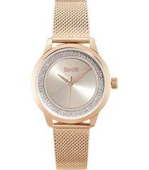 london - orologio da polso solo tempo con cassa rose gold in acciaio e strass e cinturino in acciaio a maglia milanese color rose gold per donna