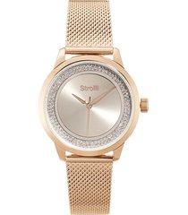 orologio solo tempo con cassa e cinturino in acciaio rosato maglia milanese per donna