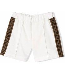 fendi white cotton blend shorts