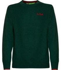 mc2 saint barth dark blue-green man sweater st. barth heart-side embroidery