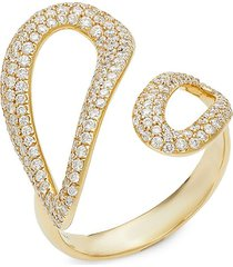 ippolita women's 18k yellow gold & diamond cherish bypass ring - size 7