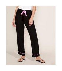 calça de pijama feminina com vivo contrastante e laço preta