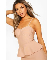 petite peplum fishtail bandage midi dress, blush