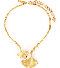 pearl embellished ginkgo collar necklace