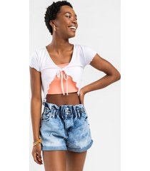 katelyn ribbed open front tie top - white