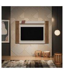 painel para tv até 60 polegadas aurora com led off white e nogueira