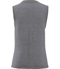 mouwloos vest met v-hals en rolrandjes van peter hahn grijs