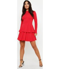 crepe long sleeve tiered skater dress, red