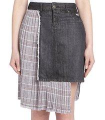 denim pleated combo skirt