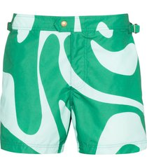 tom ford swirl print swim shorts - green