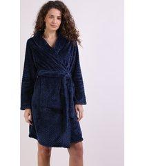 roupão feminino texturizado de plush com faixa para amarrar manga longa azul marinho