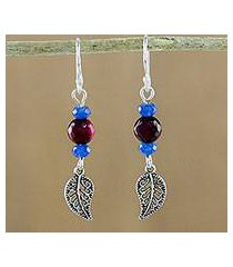 chalcedony and quartz beaded dangle earrings, 'candy forest' (thailand)