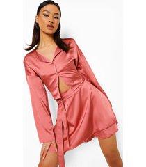 korte blouse en rok met ceintuur, peach