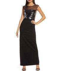 women's vince camuto sequin & mesh bodice column gown, size 16 - black