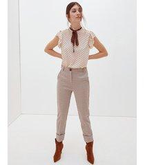 motivi pantaloni pied de poule lurex donna marrone