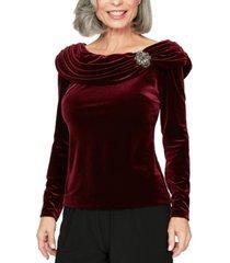 alex evenings rhinestone draped velvet blouse