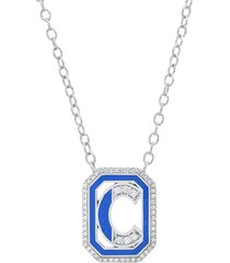 colette 18kt white gold gatsby c initial diamond and enamel necklace -
