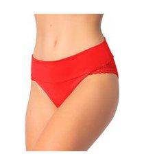 1 calcinha cós duplo renda lingerie feminina sensual vermelho