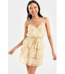 ashlie floral tiered mini dress - yellow