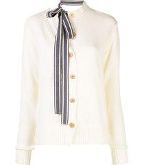 monse asymmetric ribbon tie-neck cardigan - white