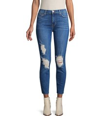 l'agence women's distressed cropped jeans - blue - size 23 (00)
