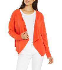 nydj draped open front sweatshirt, size x-small in opoppy at nordstrom