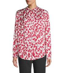 equipment women's nerine floral shirt - sky gray multi - size l