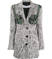 almaz sequin-embellished animal-print blazer - black
