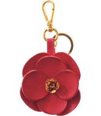 chaveiro couro maria verônica modelo rosa vermelha