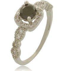 anel com zircônia preta 3rs semijoias ródio branco