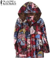 zanzea mujeres imprimió la vendimia floral de abrigo con capucha top coat jacket fleece -azul
