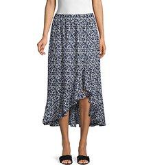 ruffle high-low floral midi skirt