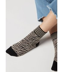 calzedonia animal print cotton ankle socks woman nude size tu