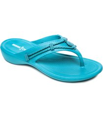 minnetonka silverthorne prism flip flop, size 11 in turquoise suede at nordstrom