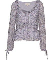 dainty bloom visc top blouse lange mouwen paars michael kors