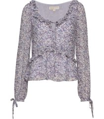 dainty bloom visc top blouse lange mouwen paars michael kors