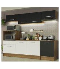 cozinha completa madesa onix 240003 com armario e balcão rustic/preto/branco 5z77 rustic/preto/branco