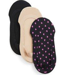 pindot heart fine edge liner socks, pack of 3
