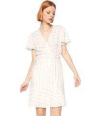 vestido colcci curto listras metalizadas off-white