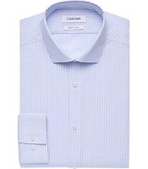 calvin klein blue gridded cotton slim fit dress shirt