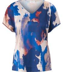 shirt met v-hals en batikprint van gerry weber blauw