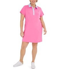 tommy hilfiger plus size cornell-trimmed polo dress, created for macy's