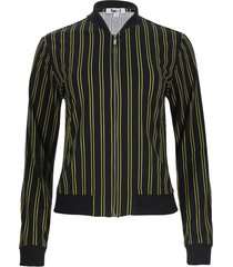 chaqueta estampada a rayas color negro, talla 6