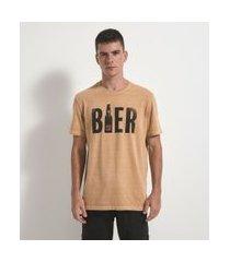 camiseta comfort manga curta com estampa beer | marfinno | amarelo | p