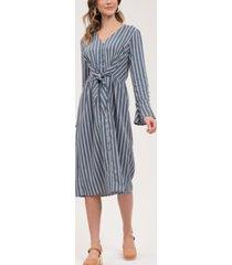 blu pepper striped midi-dress with tie-front