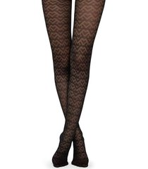 calzedonia geometric tulle effect tights woman black size 3/4