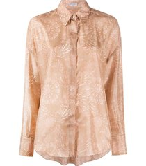 brunello cucinelli geometric print pointed collar shirt - brown