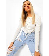 crop top met lange mouwen en veters, ecru