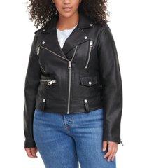levi's trendy plus size faux-leather moto jacket